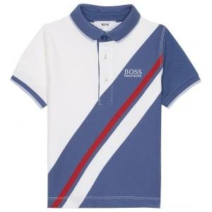 Boss Kids Big Stripe Polo Top in White