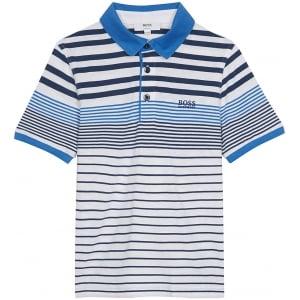 Boss Kids Navy Stripe Polo Top in White