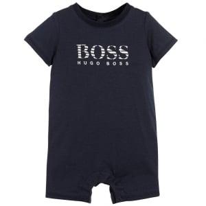 Boss Kids Newborn Lined Tee in Navy