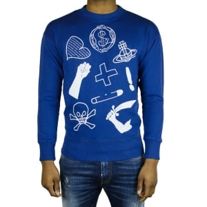 Vivienne Westwood News Mixed Logo Sweatshirt in Navy