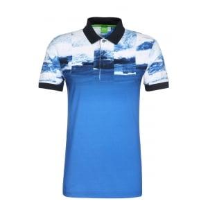 Boss Green Paule 9 Polo Shirt in Mid Blue