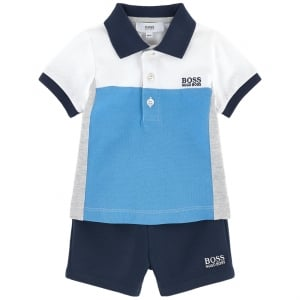 Boss Kids 2 Piece Polo and Shorts Set in Navy