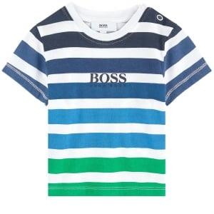 Boss Kids Stripe T-Shirt in Green and Blue