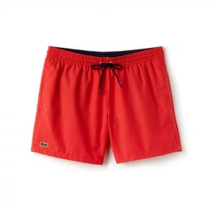 Lacoste Plain Swim Shorts in Red