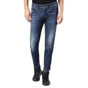 """Diesel Sleenker 30"""" Short Leg Jeans in Mid Wash"""