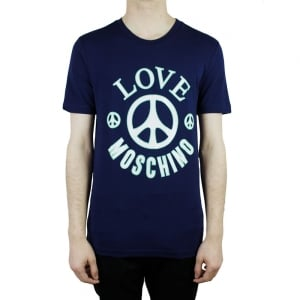 Love Moschino Big Peace T-Shirt in Navy