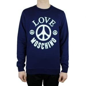 Moschino Green Peace Logo Sweatshirt in Navy