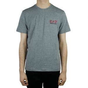 Ea7 Red Logo T-Shirt in Grey