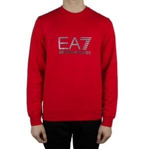 Ea7 Big Logo Sweatshirt in Red