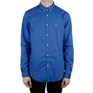 Lacoste Check Long Sleeved Shirt in Navy
