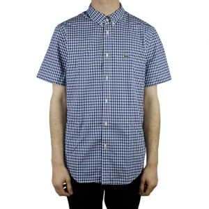 Lacoste Check Short Sleeve Shirt in Navy