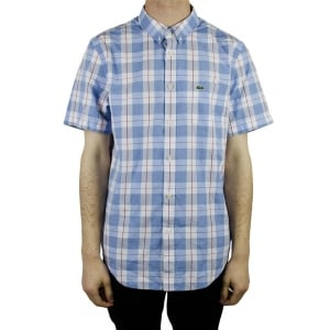 Lacoste Check Short Sleeved Shirt in Baby Blue
