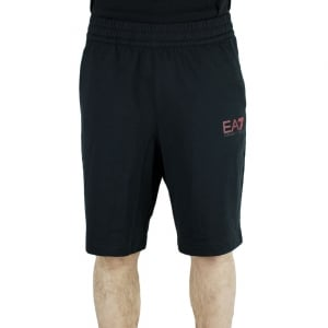 Ea7 Jersey Red Logo Shorts in Black