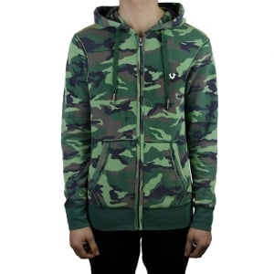 True Religion Camouflage Hoodie in Green