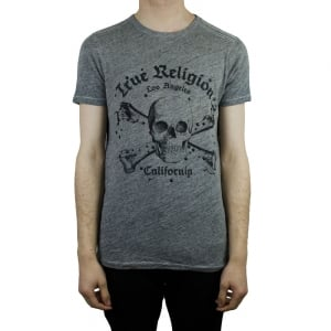 True Religion Skull T-Shirt in Dark Grey