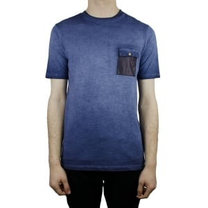 Hamaki-Ho Leather Pocket T-Shirt in Navy