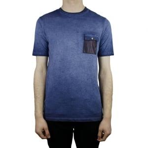 Hamaki-Ho Leather Pocket T-Shirt in Navy