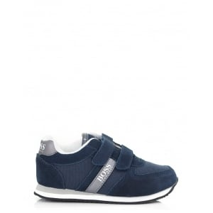 Boss Kids Strap Trainers in Navy