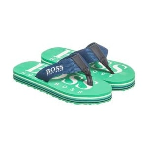 Boss Kids Logo Flip Flops in Green