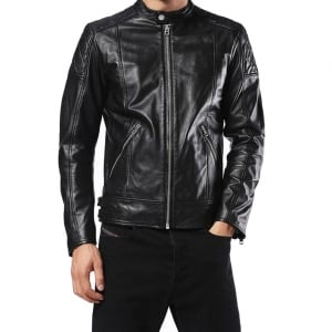 Diesel L-Marton Leather Jacket in Black