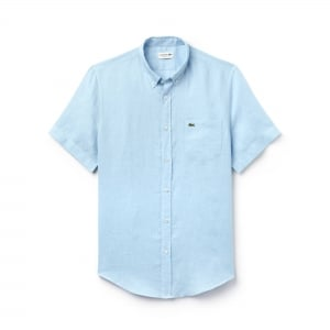 Lacoste Plain Short Sleeved Shirt in Baby Blue