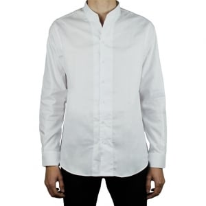 Collezioni Pinstripe Grandad Collar Formal Shirt in White