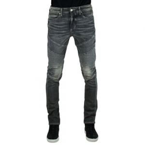 True Religion Rocco Moto Jeans in Dark Grey