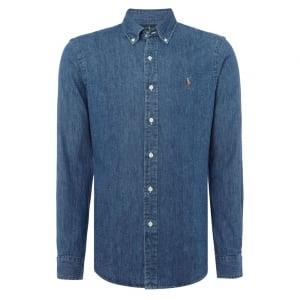 Ralph Lauren Polo Long Sleeve Denim Shirt in Dark Wash