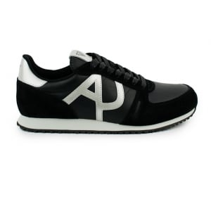 Armani Jeans AJ Kick Silver Logo Trainers in Black