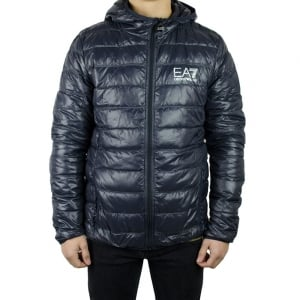 Ea7 Quilt Hooded Jacket in Dark Grey