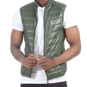 Ea7 Body Quilted Gilet Jacket in Green