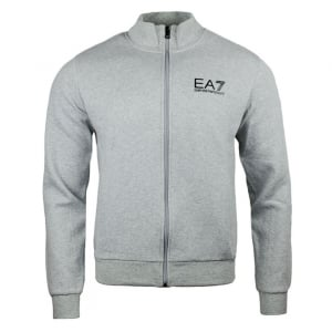 Ea7 Zip Up Logo Sweatshirt in Grey