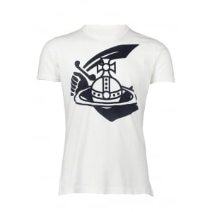 Vivienne Westwood Classic Navy Arm and Cutlass Print T-Shirt in White