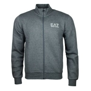 Ea7 Zip Up Logo Sweatshirt in Dark Grey