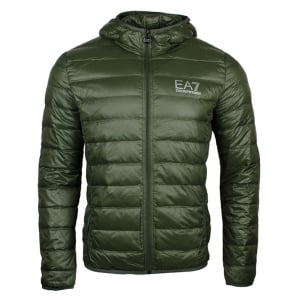 Ea7 Quilted Hood Jacket in Green