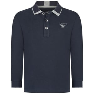 Armani Junior Baby Tipped Long Sleeve Polo Top in Navy
