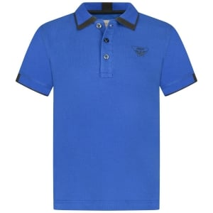 Armani Junior Baby Short Sleeve Tipped Logo Polo Top in Blue