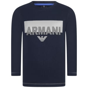 Armani Junior T Shirts Long Sleeve Logo Tee in Navy