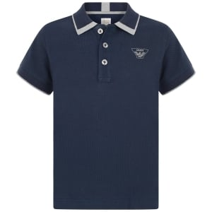 Armani Junior Tipped Polo Top in Navy