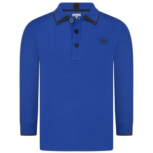 Armani Junior Long Sleeve Tipped Polo Top in Blue