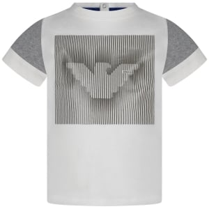 Armani Junior T-Shirt Lined Tee in White
