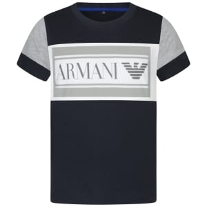 Armani Junior Big Logo T-Shirt in Navy
