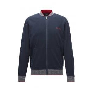 Boss Black Loungewear College Jacket in Dark Blue