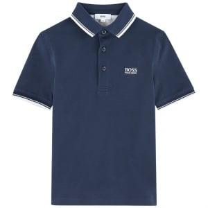 Boss Kids Short Sleeve Core Polo Shirt in Navy