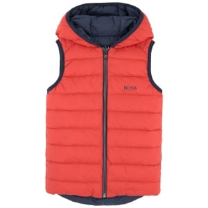 Big Kids Body Warmer Coat in Navy Blue and Red