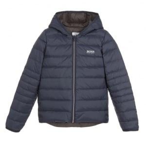 Boss Kids Puffer Coat in Navy