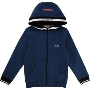 Boss Kids Boss Zip Up Sweatshirt in Dark Blue