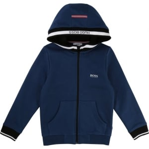 Boss Kids Big Kids Boss Zip Up Sweatshirt in Dark Blue