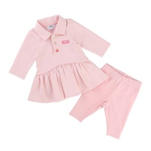Boss Kids Girls Polo Top Dress and Leggings in Pink