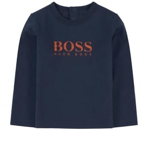 Boss Kids Long Sleeve Newborn Tee in Navy